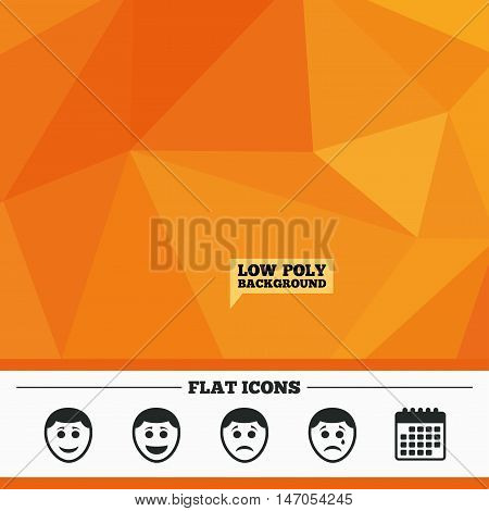 Triangular low poly orange background. Human smile face icons. Happy, sad, cry signs. Happy smiley chat symbol. Sadness depression and crying signs. Calendar flat icon. Vector