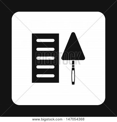 Brick and trowel icon in simple style isolated on white background. Tool symbol vector illustration