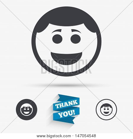 Smile face sign icon. Happy smiley with hairstyle chat symbol. Flat icons. Buttons with icons. Thank you ribbon. Vector