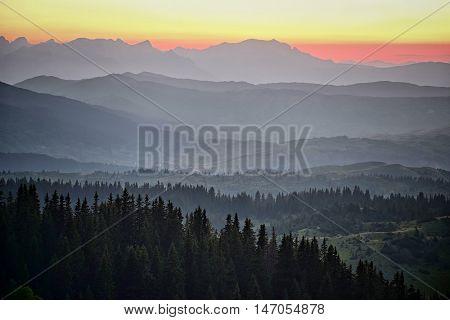 Durmitor Mountains layers at twilight, Montenegro