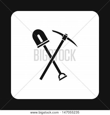 Shovel and pickaxe icon in simple style isolated on white background. Tool symbol vector illustration