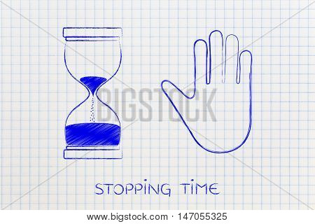 Hourglass And Hand Making A Stop Gesture