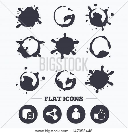 Paint, coffee or milk splash blots. Social media icons. Chat speech bubble and Share link symbols. Like thumb up finger sign. Human person profile. Smudges splashes drops. Vector