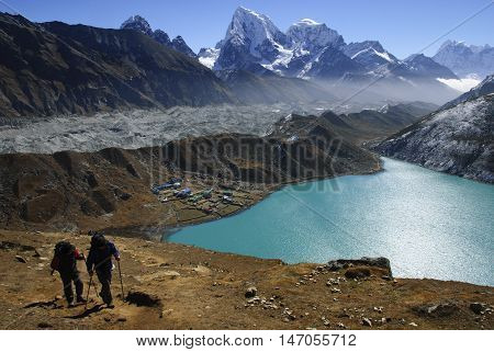 Trekkers in the Gokyo Valley in the Everest Region of Nepal