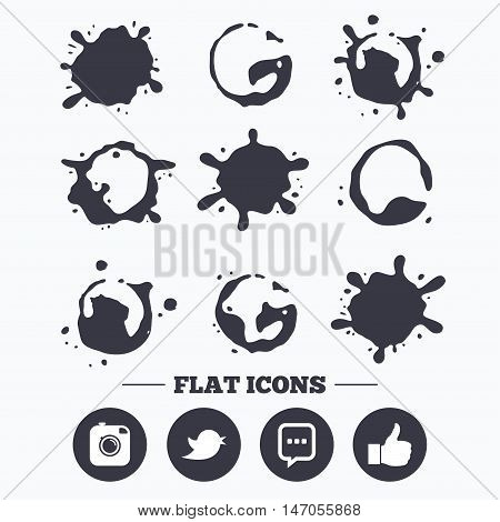 Paint, coffee or milk splash blots. Hipster photo camera icon. Like and Chat speech bubble sign. Hand thumb up. Bird symbol. Smudges splashes drops. Vector