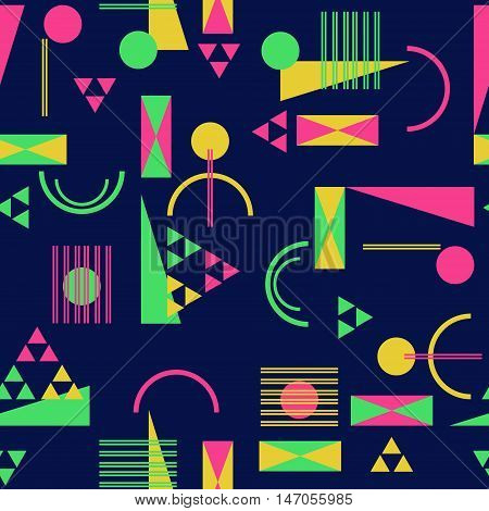 Seamless geometric pattern in retro 80s style Background