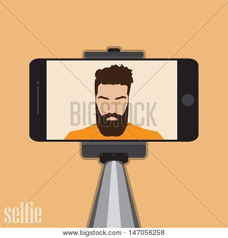 Stick for selfie. Monopod Selfie shots cartoon vector illustration.Young couple making self portrait. Man with beard hipster