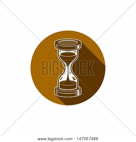 Conceptual icon web design element. 3d vector antique hourglass isolated on white. T