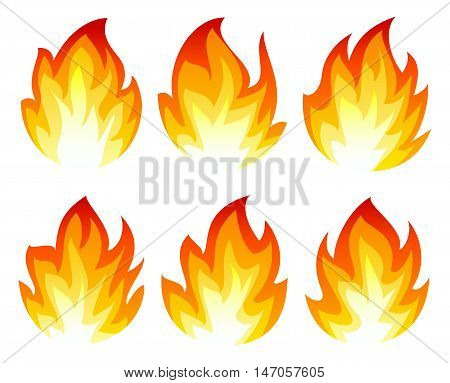 Six simple fire icon on white background