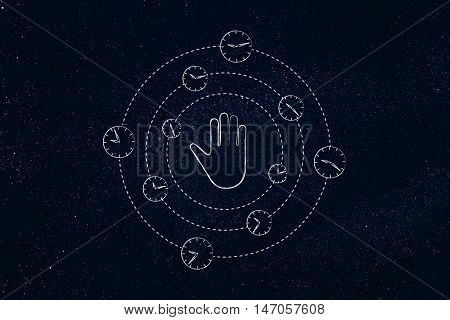 Hand Making A Stop Gesture Surrounded By Spinning Clock
