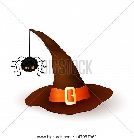 Cartoon Halloween 3d witch hat with hanging hairy black spider isolated on white background. Brown cap with an orange ribbon and buckle. Vector illustration