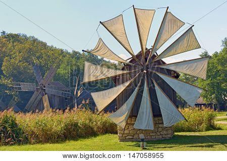 Medieval windmill in Sibiu Romania, close up