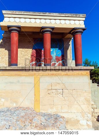 North Entrance With Charging Bull Fresco And Red Columns, Knossos Palace