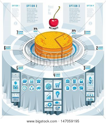 Creative infographics concept piece of pie ideavector illustration.