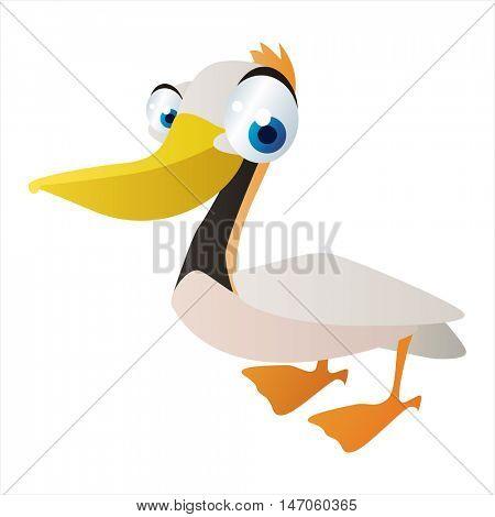 vector cartoon cute Birds. Funny Pelican