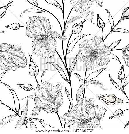 Floral seamless engraving pattern. Flower swirl background. Floral sketching ornament