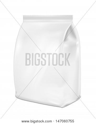 White blank plastic or paper washing powder packaging. Sachet for bread coffee sweets cookies and gift.