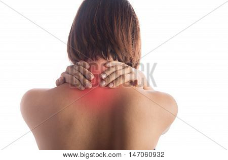 Woman has pain her back neck office syndrome disease