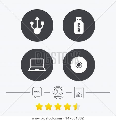 Usb flash drive icons. Notebook or Laptop pc symbols. CD or DVD sign. Compact disc. Chat, award medal and report linear icons. Star vote ranking. Vector