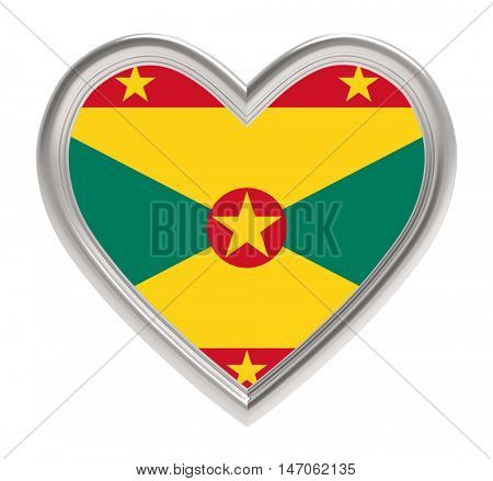 Grenada flag in golden heart isolated on white background. 3D illustration.
