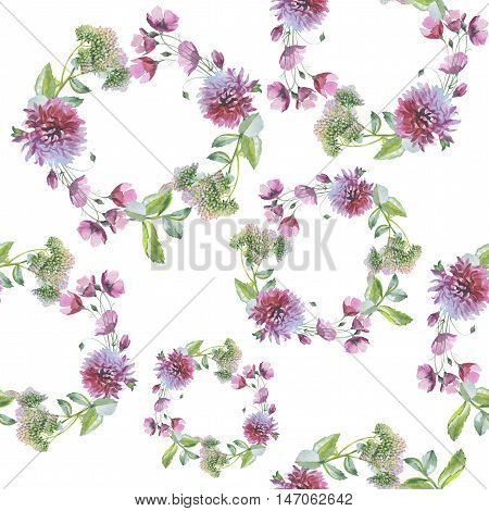 Wildflower flower chrysanthemum wreath pattern in a watercolor style. Full name of the herb: chrysanthemum, dahlia. Aquarelle flower could be used for background, texture, pattern, frame or border.