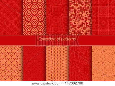 Set of seamless ornaments. East stylized pattern. Background of fine lines for wrapping paper textile decorating banners. Vector illustration.