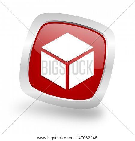box square glossy red chrome silver metallic web icon