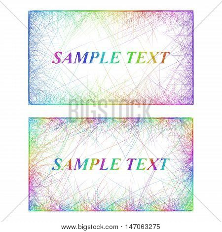 Sketch business card border templates in rainbow colors