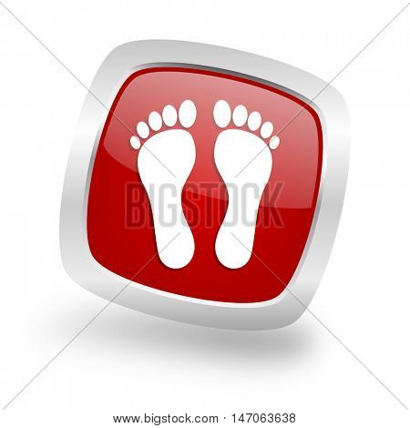 foot square glossy red chrome silver metallic web icon