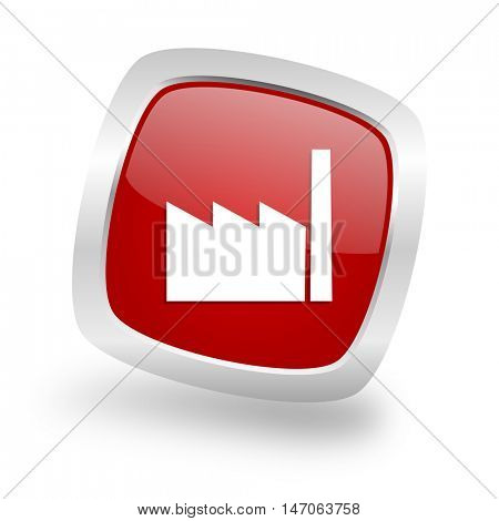 factory square glossy red chrome silver metallic web icon