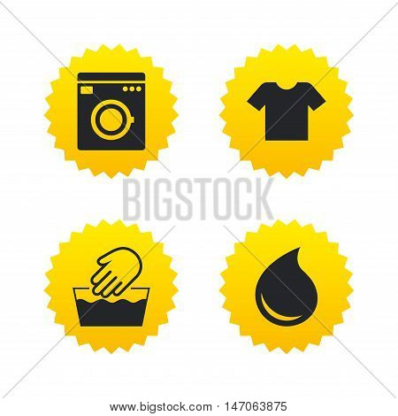 Wash machine icon. Hand wash. T-shirt clothes symbol. Laundry washhouse and water drop signs. Not machine washable. Yellow stars labels with flat icons. Vector