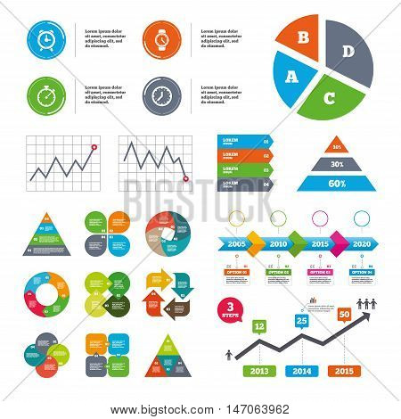 Data pie chart and graphs. Mechanical clock time icons. Stopwatch timer symbol. Wake up alarm sign. Presentations diagrams. Vector