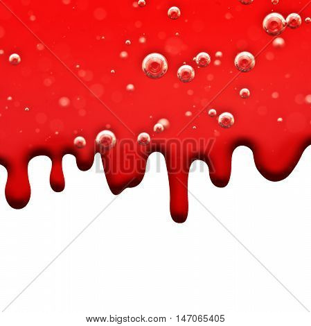 Liquid flows Red Dripping Blood Macro Air Bubbles for the Medical Project or other variants on White Background Area for Text
