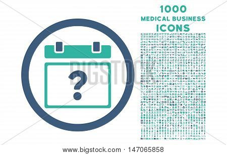 Unknown Date rounded vector bicolor icon with 1000 medical business icons. Set style is flat pictograms, cobalt and cyan colors, white background.