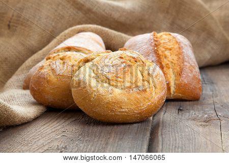 fresh bake bun on a wooden background