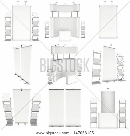 Trade show booth set. Roll-Up Pop-Up with Reception Desk. 3d render isolated on white background. 3d render isolated on white background. Floor Stands Collection. Ad template for your expo design.
