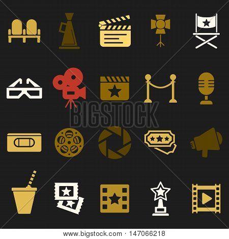 Cinema retro movies icons set. Template vector concept.