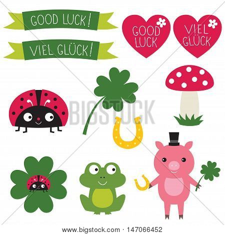 Good luck symbols set. Text