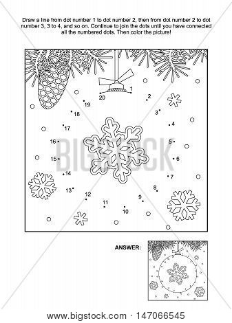 Winter, New Year or Christmas themed connect the dots picture puzzle and coloring page - bauble with snowflake. Answer included.