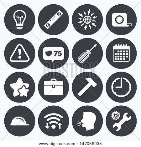 Calendar, wifi and clock symbols. Like counter, stars symbols. Repair, construction icons. Engineering, helmet and screwdriver signs. Lamp, electricity and attention symbols. Talking head, go to web symbols. Vector