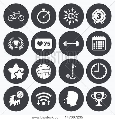 Calendar, wifi and clock symbols. Like counter, stars symbols. Sport games, fitness icons. Golf, basketball and volleyball signs. Timer, bike and winner cup symbols. Talking head, go to web symbols. Vector