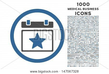 Favourites Day rounded vector bicolor icon with 1000 medical business icons. Set style is flat pictograms, cobalt and gray colors, white background.