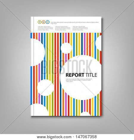 Brochures book or flyer with colored stripes and circles template vector eps 10