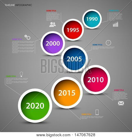 Time line info graphic with colored circles in row template vector eps 10