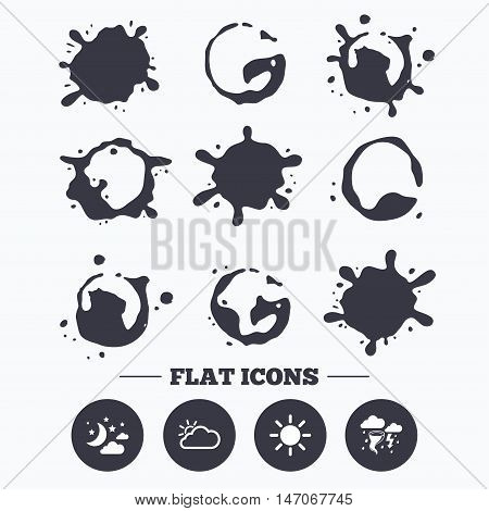 Paint, coffee or milk splash blots. Weather icons. Moon and stars night. Cloud and sun signs. Storm or thunderstorm with lightning symbol. Smudges splashes drops. Vector