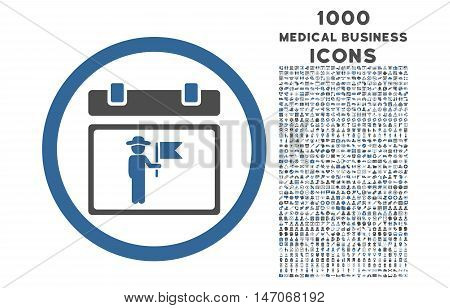 National Holiday Day rounded vector bicolor icon with 1000 medical business icons. Set style is flat pictograms, cobalt and gray colors, white background.