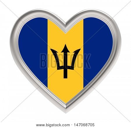 Barbados flag in golden heart isolated on white background. 3D illustration.