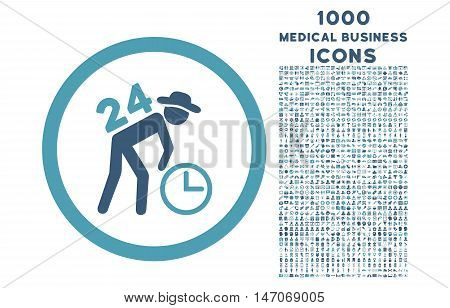 Around the Clock Work rounded vector bicolor icon with 1000 medical business icons. Set style is flat pictograms, cyan and blue colors, white background.