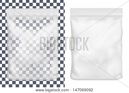 Transparent plastic or paper washing powder packaging. Sachet for bread coffee sweets cookies and gift.