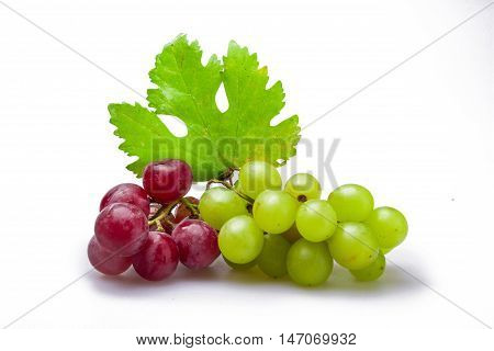 Red And White Grape Clusters With Leaf Close-up